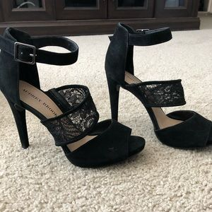 Sexy Strappy Lace and Suede Black Audrey Brooke